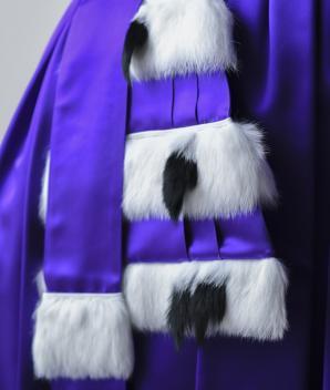 Epitoge satin acétate violet 3 rangs lapin & queues d'herminette